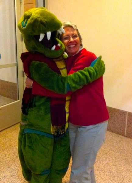 Susanna as Spike the dino with Candace at the Natural History Museum