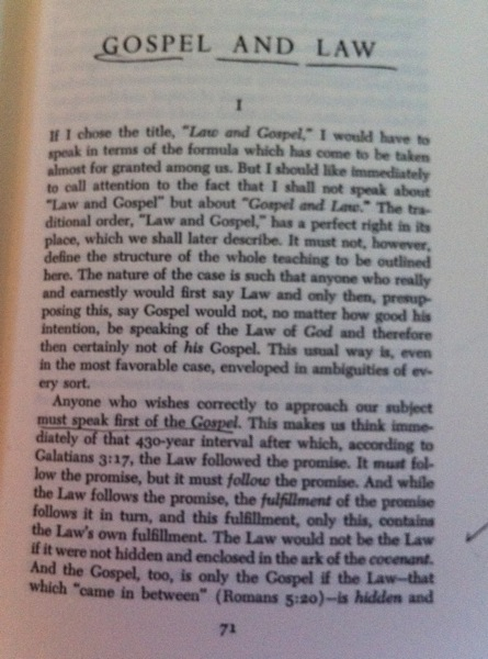 Barth, Gospel and Law