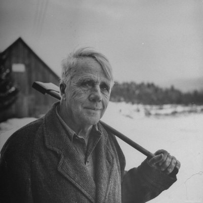 Poet robert frost in affable portrait axe slung over shoulder