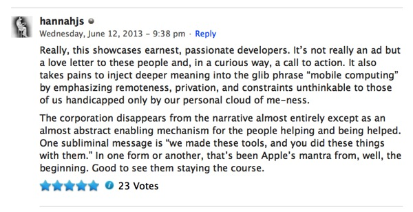 Apple comment