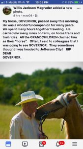 Governor's passing